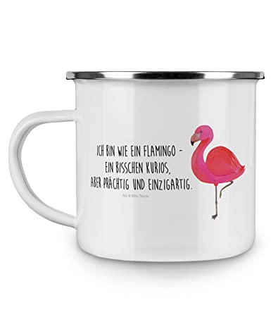 Mr. & Mrs. Panda Campingbecher, Kaffeetasse, Emaille Tasse Flamingo Classic mit Spruch - Farbe Weiß
