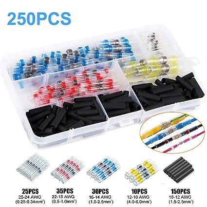 connettori a crimpare 300 pezzi 3 colori 3 misure 3 terminali elettrici impermeabili isolati Connettore del cavoTermorestringente