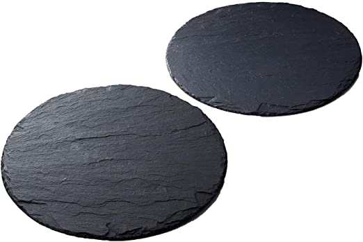 Slate Place Mats x4 Natural Grey Slate Serving Platters Cheese Board Anti Slip