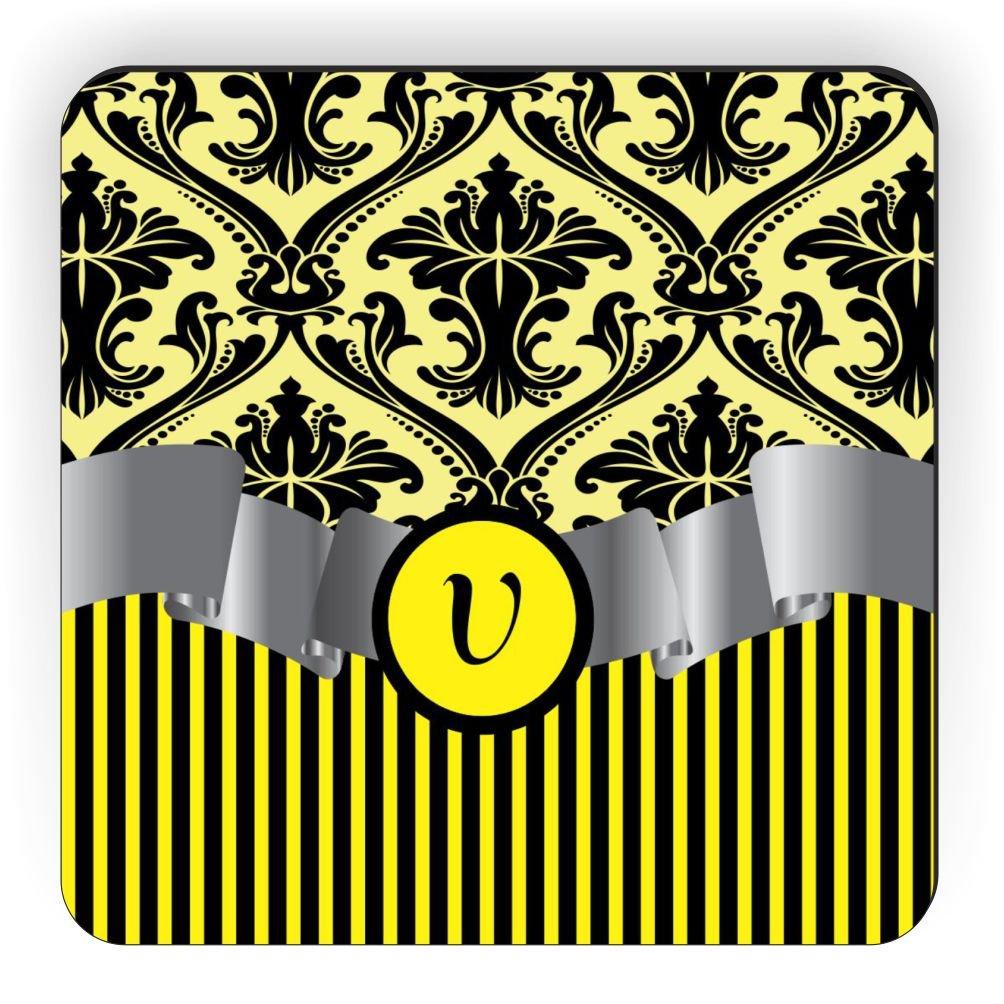 Rikki Knight Letter V Initial Yellow Damask and Stripes Monogrammed Design Square Fridge Magnet