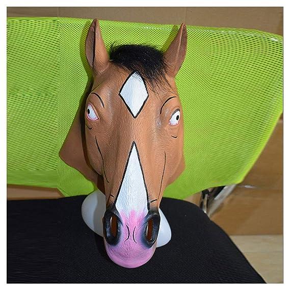 Máscara YN Navidad Fiesta de Halloween Lujo Novedad Bojack Horseman Caballo marrón Interesante Látex: Amazon.es: Juguetes y juegos