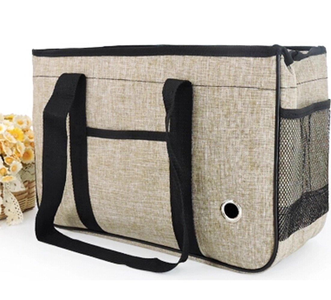 BAGIRL Small Medium Dogs Handbag Winter Pet Carrier Tote Pet Cat House Portable Cat Handbag (Large, Light tan)