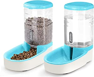 Pet Water Feeder Dispenser, Automatic Pet Waterer,Dog Cat Water Food Combo,Pet Water Dispenser Station,Automatic Gravity Water Drinking Fountain Bottle Bowl Dish Stand 1Gal (3.8L Feeder Foundation)