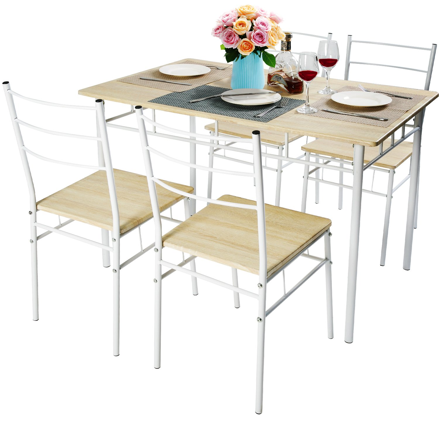 Harper&Bright Designs 5 Pcs Wood and Metal Dining Set Table and 4 Chairs Home Kitchen Modern Furniture (Oak)