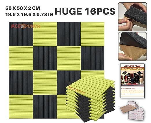 Ace Punch 16 Pack de 2 Colores NEGRO Y AMARILLO Auto Adhesivo de la Cuña de Espuma Acústica Panel de Bricolaje Estudio del Diseño Acústico Revestimientos ...