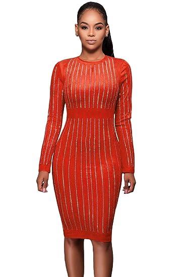 neuen Damen Faux Wildleder Orange Strass gestreift Kleid Büro Party ...