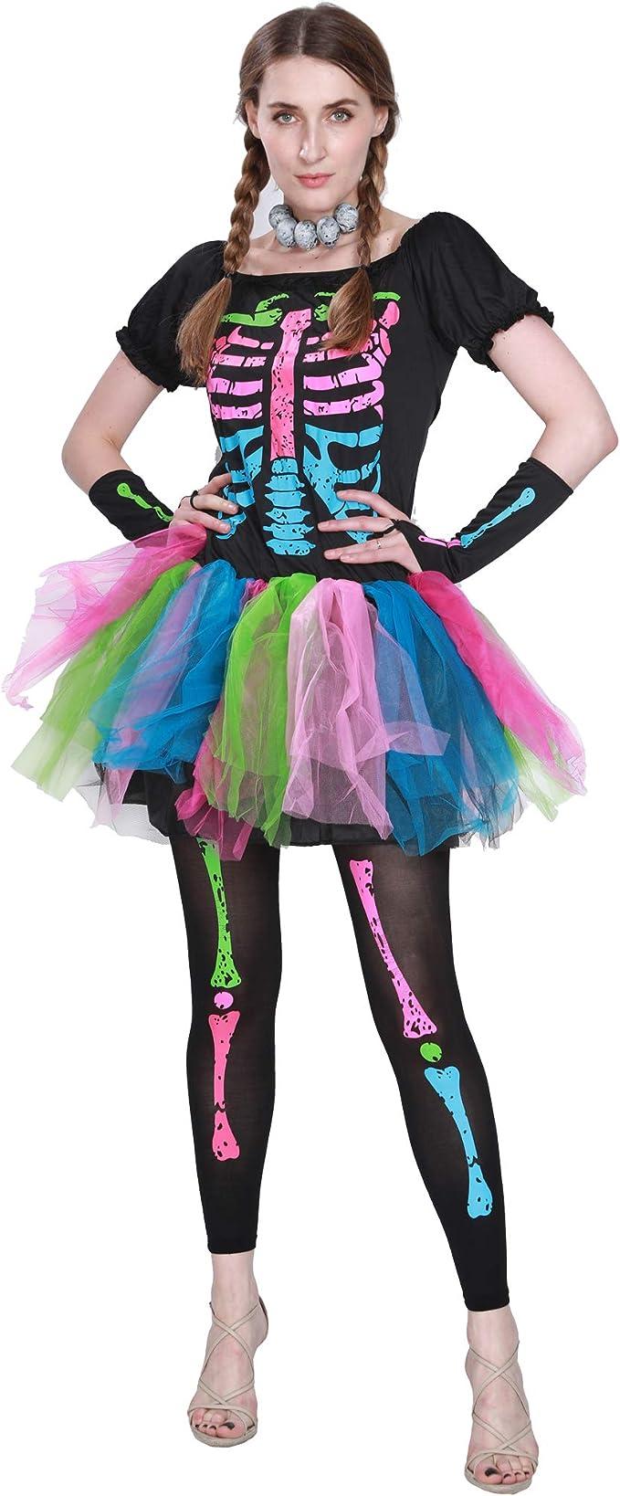 EraSpooky Mujer Miedoso Punky Huesos Disfraz Esqueleto Vistoso ...