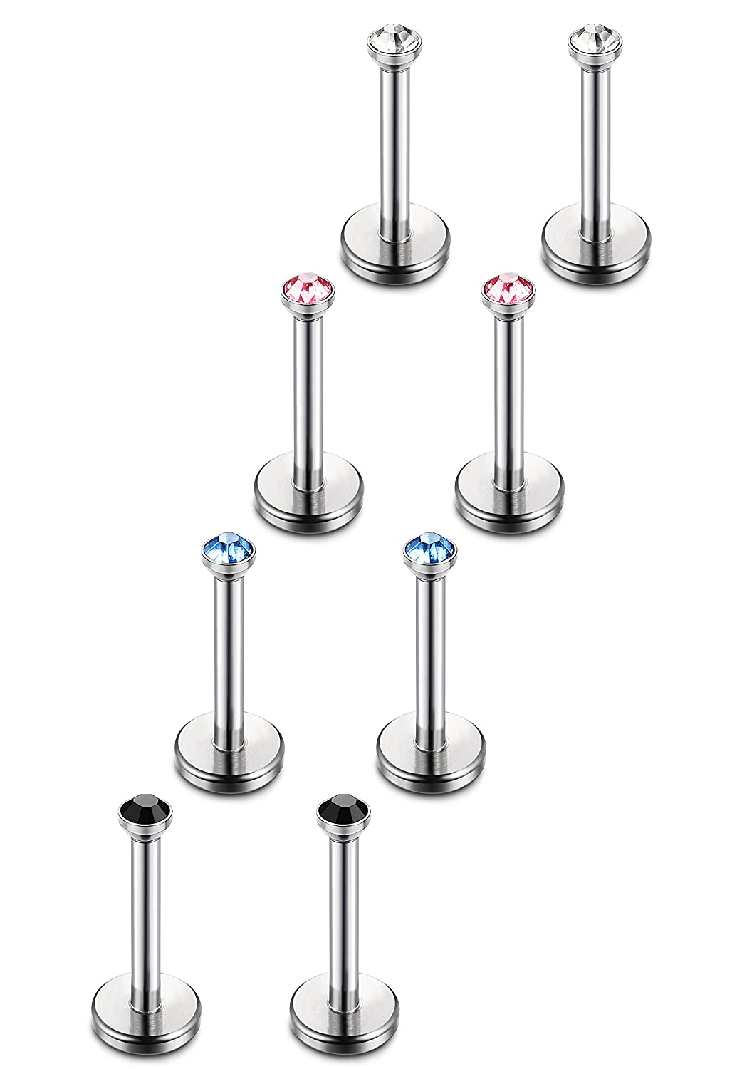Besteel 8pcs 18G Stainless Steel Lip Rings Labret Monroe Nose Studs Ear Piercings Tragus 6-12mm Bar Length P0100-4*6mm