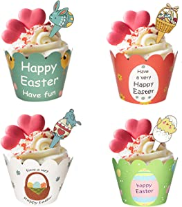 48 Pieces Easter Cupcake Toppers Cupcake Wrappers Kit for Easter Rabbit Theme Spring Party Decor Dessert Supplies
