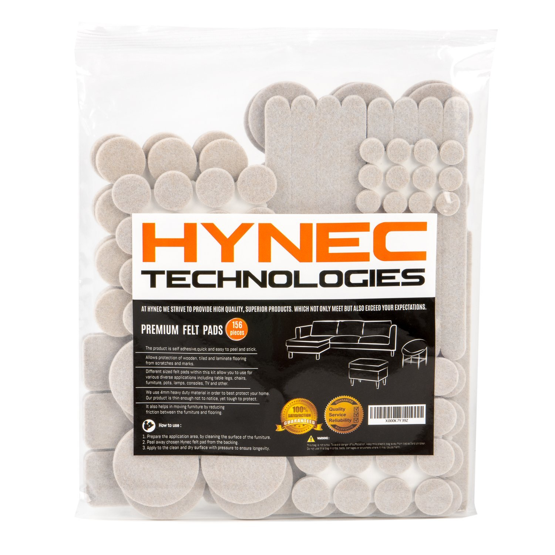 Hynec Premium Furniture Felt Pads LARGE Set 8 Size Self Stick