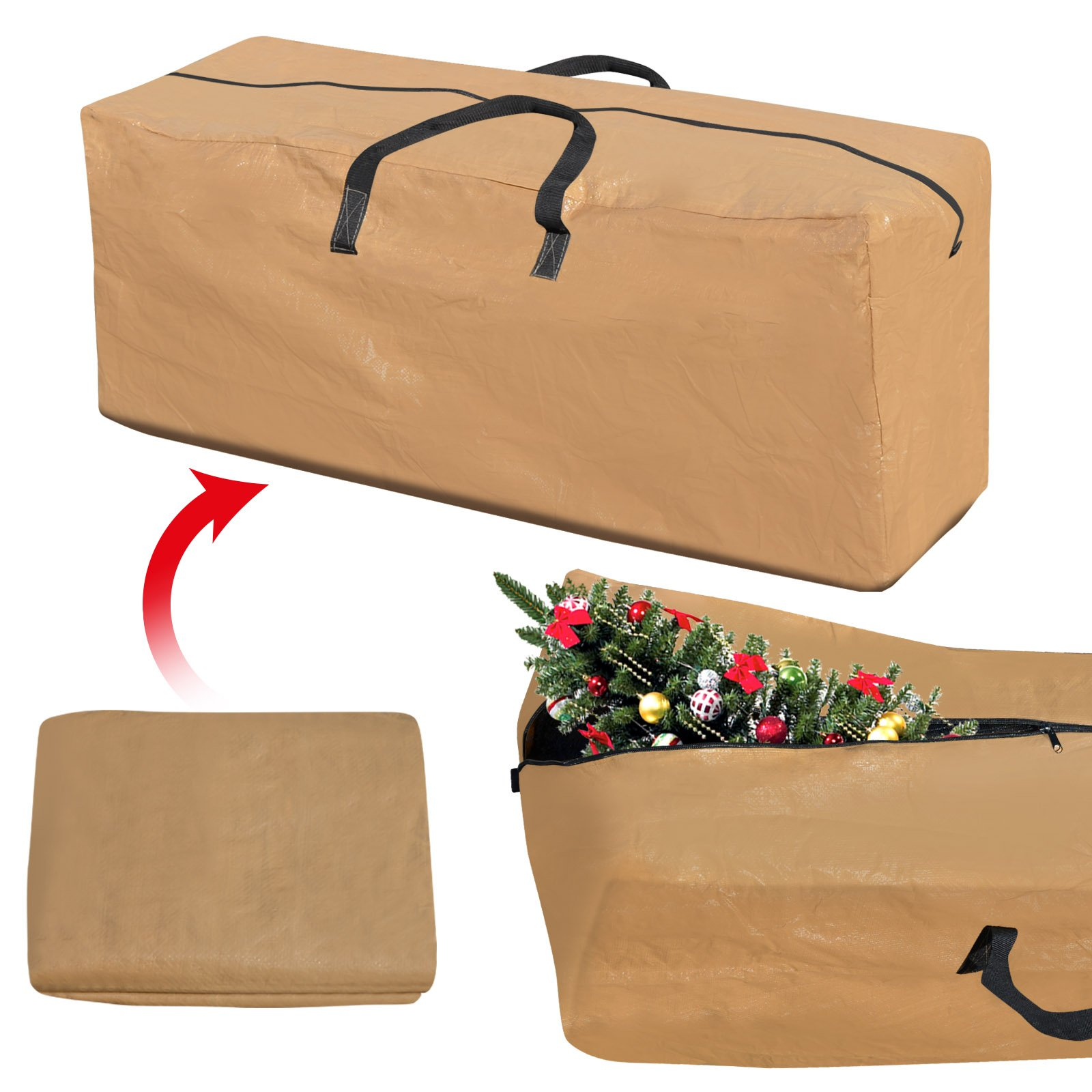 BenefitUSA Heavy Duty Large Artificial Christmas Tree Storage Bag For Clean Up Holiday Up to 8ft Tan Bag