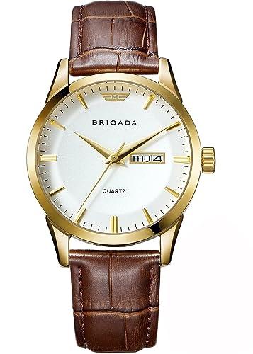 Brigada Suiza Marca Classic Oro Hombres Vestido Reloj para Hombres con Fecha Calendario, Negocios Casual Cuarzo Hombre Reloj Impermeable: BRIGADA: ...