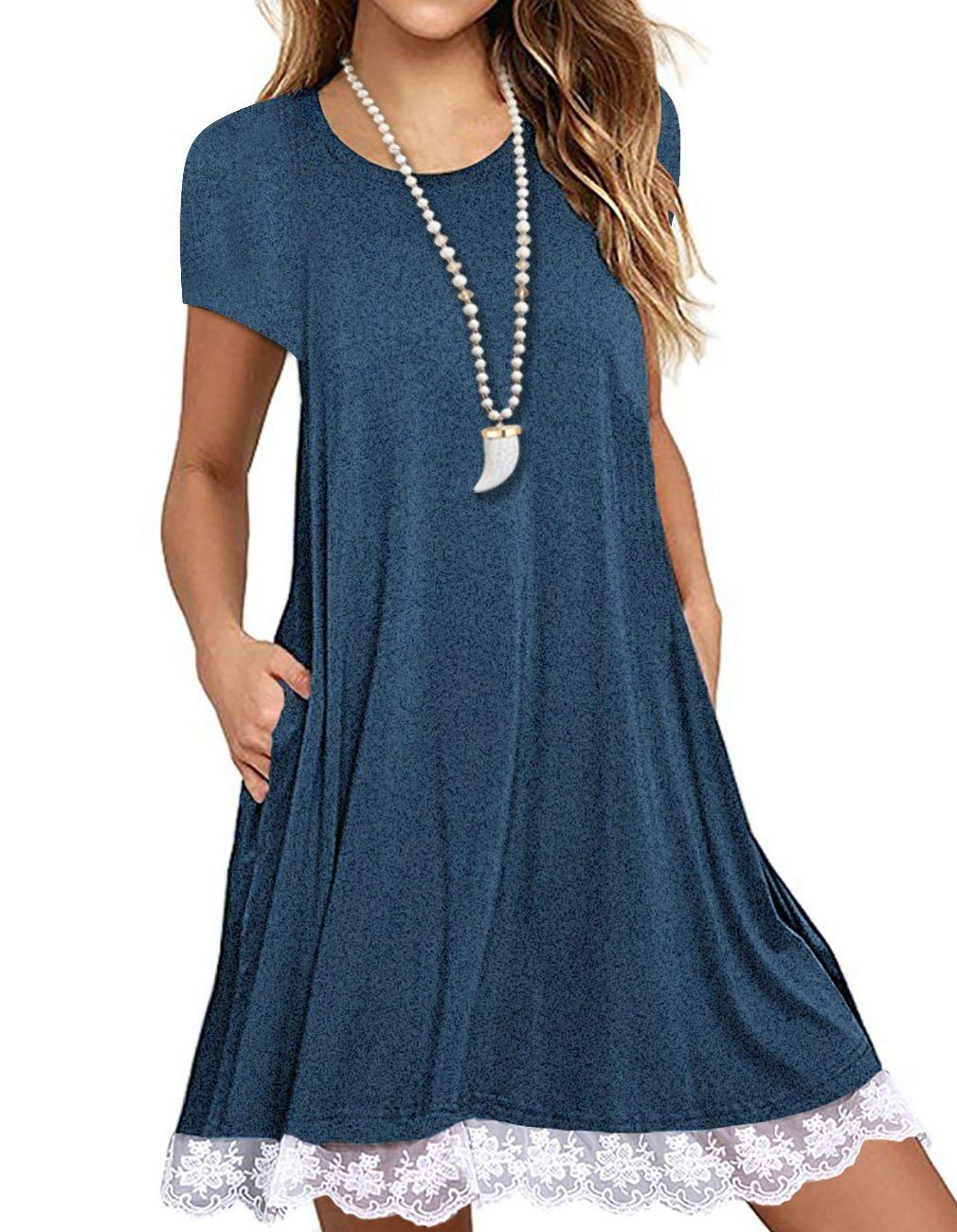 Sanifer Women's Short Sleeve Lace Tunic Dress Summer T-Shirt Dress with Pockets (Medium, Blue)