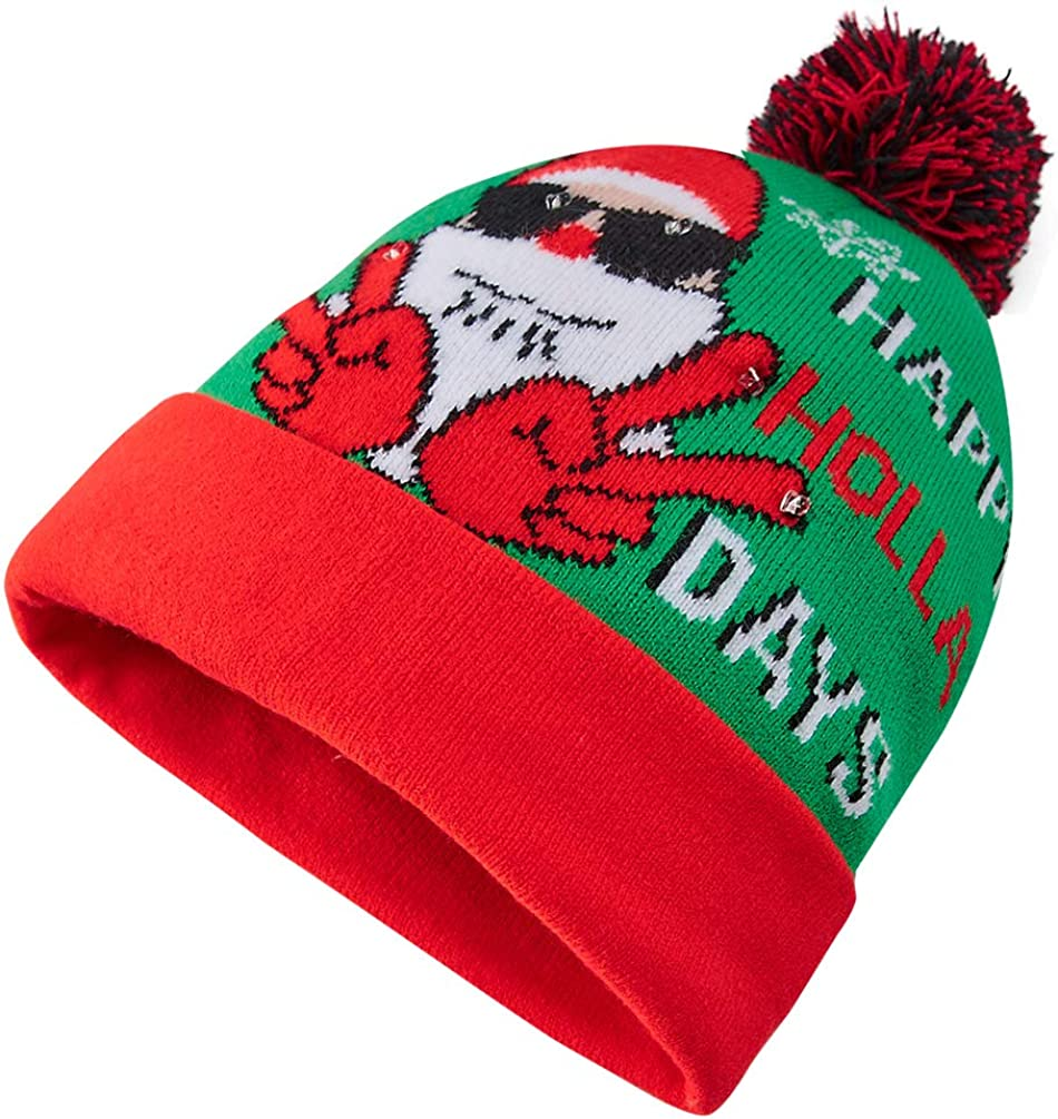 Goodstoworld novit/à Natale Berretto Lavorato a Maglia per Uomini Donne Ragazzi Ragazze Natale Partiti 6 LED Light Up Christmas Beanie Hat for Xmas Party