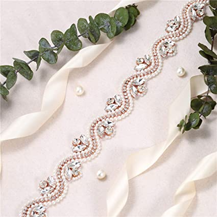 Bridal Wedding Dress Sash Belt Applique 1 Yard with Crystals Rhinestones  Pearls Beaded Decorations Handcrafted Sparkle 878091a739e9