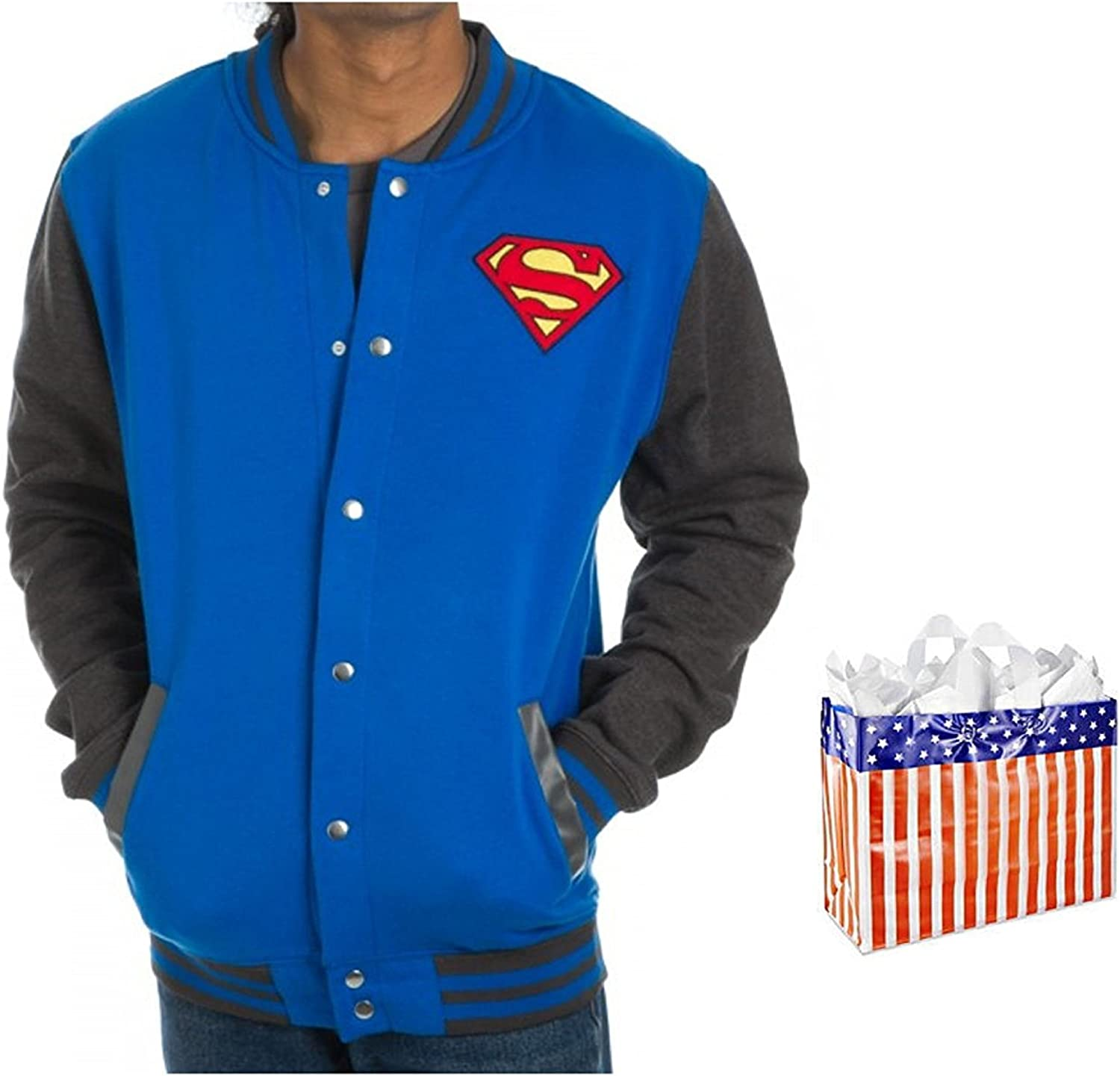 Superman Mens Letterman Jacket and Bag 2 Piece Gift Set