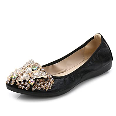 Robert Reyna Fashion Women Crystal Ballet Flats Size 34-43 Spring Solid Gold Bling Cloth Pointed Toe Slip-On Flat Woman