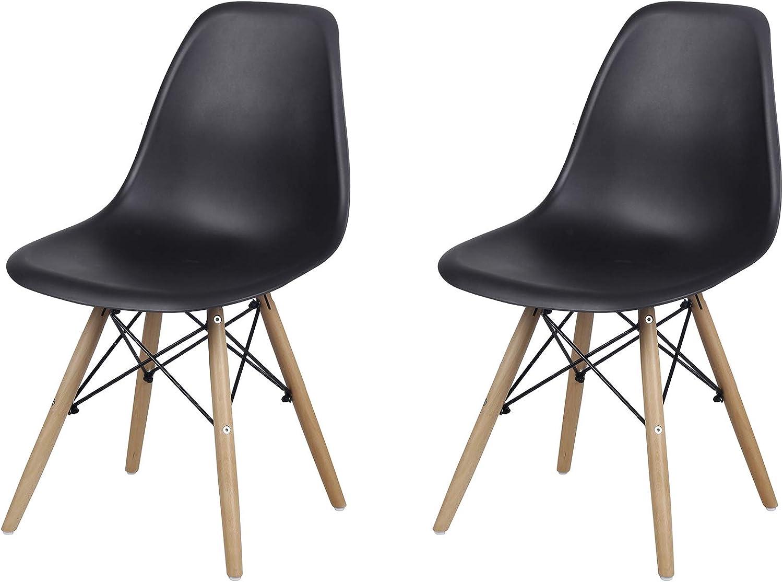 GIA Mid-Century Plastic Chair, 2-Pack, Black/Wood Legs