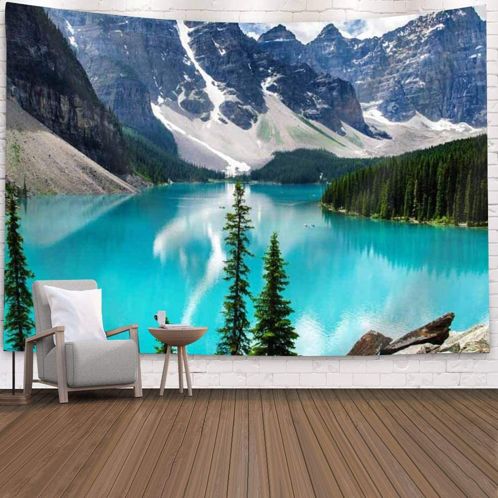 """Qchengsan Sunset Forest Ocean and Mountains Wall Hanging Tapestry/Wall Hanging Decor, Nature Square Home Living Room Bedroom Decor Beach Towel/Beach Carpet (59"""" x 51"""")(BS02-Waves)"""