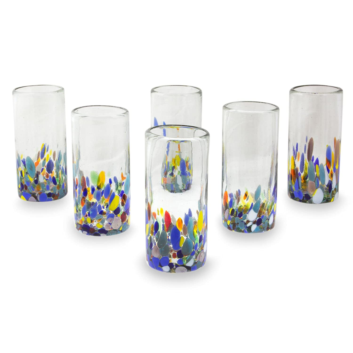 NOVICA Multicolor Eco-Friendly Hand Blown Glass Highball Glasses, Confetti Festival' (Set of 6) 252661