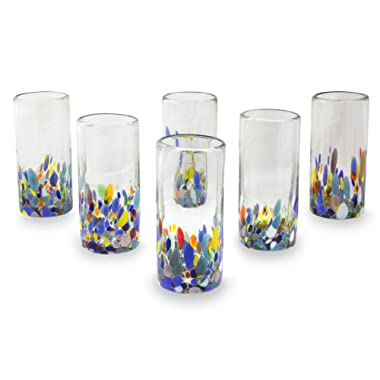 NOVICA Multicolor Eco-Friendly Hand Blown Glass Highball Glasses, 'Confetti Festival' (set of 6)