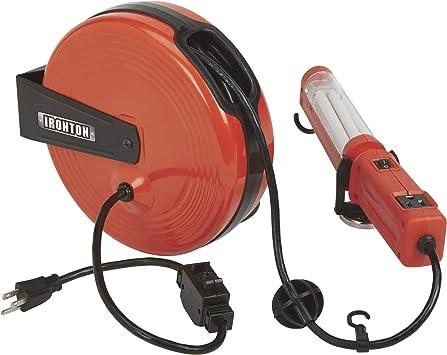 Ironton Retractable Extension Cord Reel With Worklight 40ft 18 3 Fluorescent Light Amazon Com