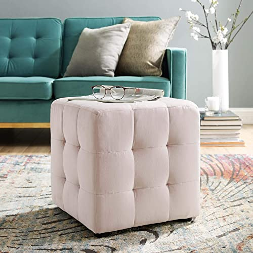 Modway Contour Tufted Button Cube Performance Velvet Ottoman