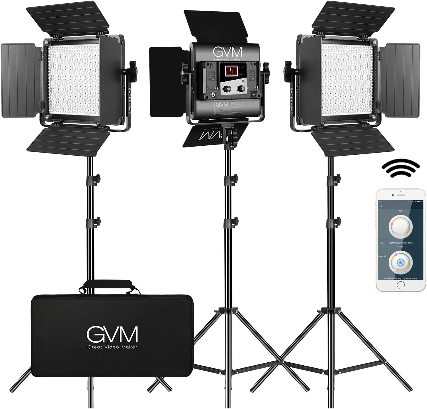 Amazon Com Gvm 560 Led Video Light Dimmable Bi Color 3 Packs Photography Lighting With App Intelligent Control System Lighting For Youtube Studio Outdoor Video Lighting Kit 2300k 6800k Cri 97 Camera Photo