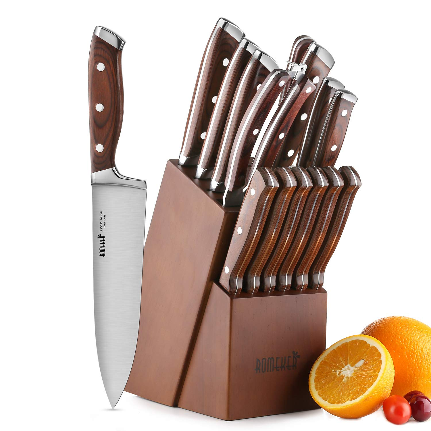 Knife Set,15-Piece Kitchen Knife Set with Block Wooden,Chef Knife Set with Sharpener,Germany High Carbon Stainless Steel Knife Block Set,Boxed Knife Sets,ROMEKER by ROMEKER