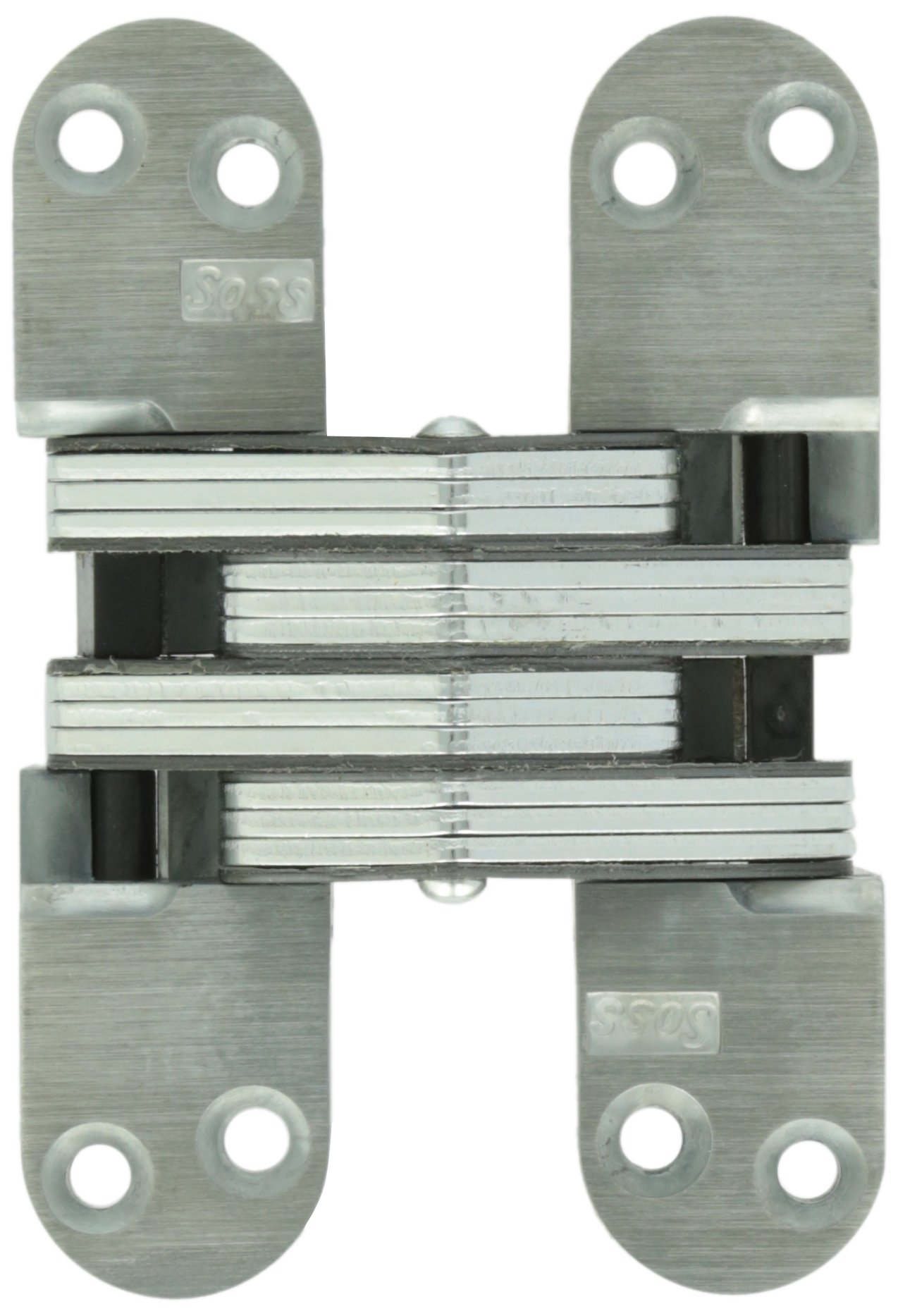 SOSS 218UNP 218 Zinc Invisible Hinge with Holes for Wood or Metal Applications, Mortise Mounting, Unplated