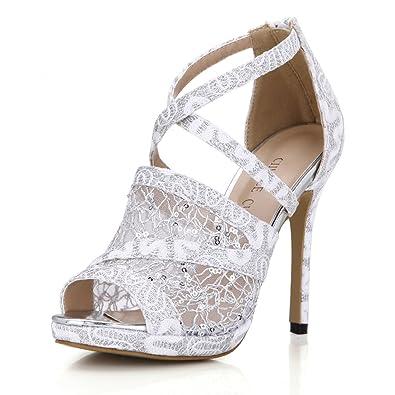 647c8c298561 CHMILE CHAU Women Glitter Bridal Pumps with Mesh Sexy Stiletto High Heels  Peep Toe Ladies Shoes: Amazon.co.uk: Shoes & Bags