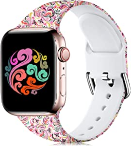 Wepro Compatible with Apple Watch Band 38mm 40mm iWatch SE & Series 6, Series 3, Series 5 4 2 1 for Women, Fadeless Floral Pattern Printed Silicone Wrist Bands Replacement, Colorful Cloud, S/M