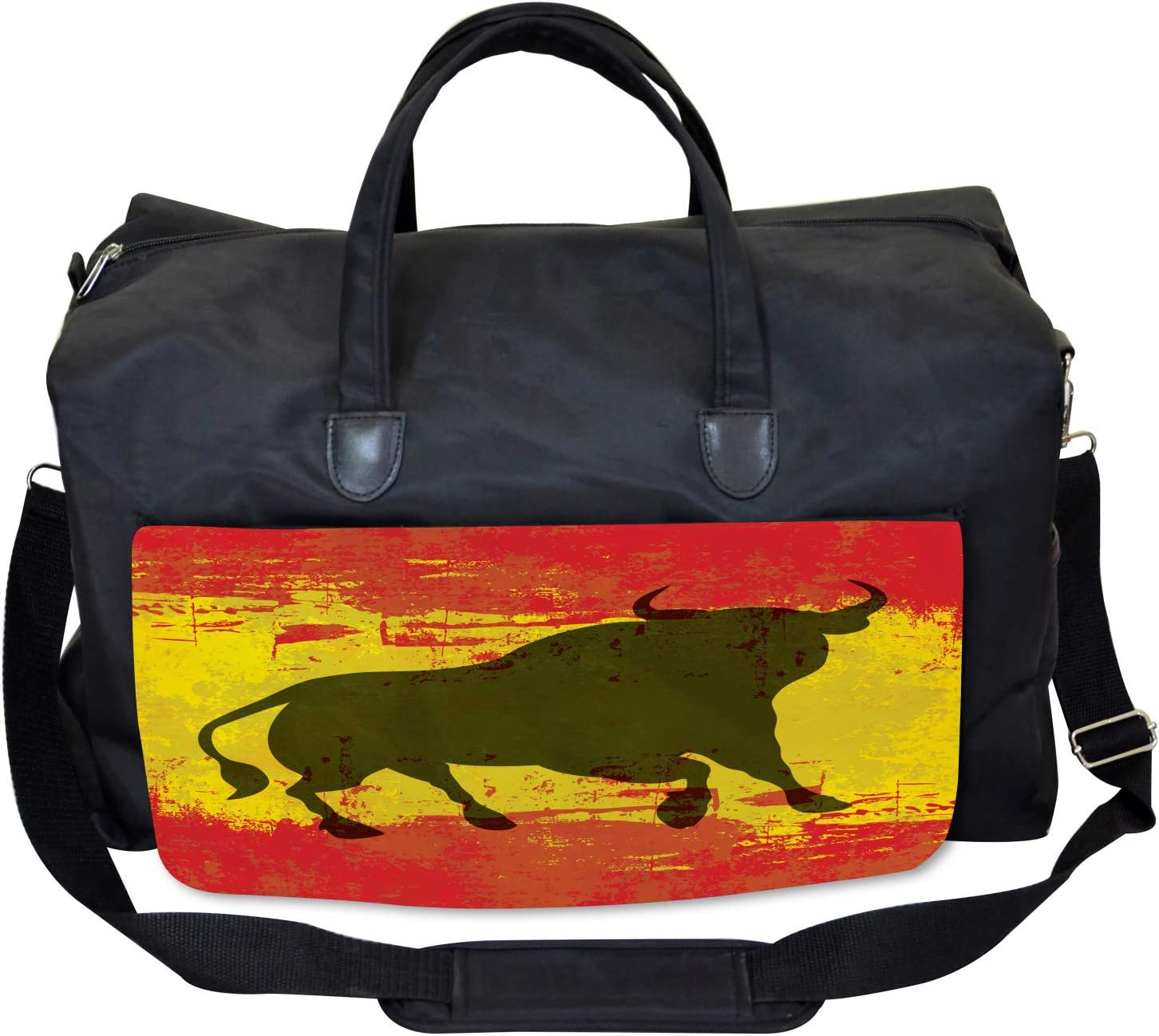 Large Weekender Carry-on Ambesonne Spanish Gym Bag Bull Silhouette on Flag