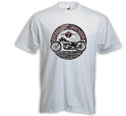 Biker T-Shirt Black Darkness weiß Ace Cafe Racer Bobber Rockabilly Gr. S
