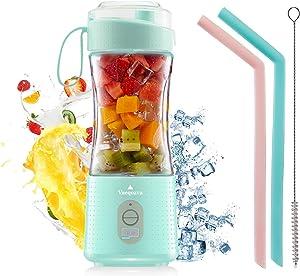 Vaeqozva Portable Blender USB Rechargeable Personal Mixer Fruit Mini Blender for Smoothie, Fruit Juice, Protein Shake, Milk Shakes Light Blue
