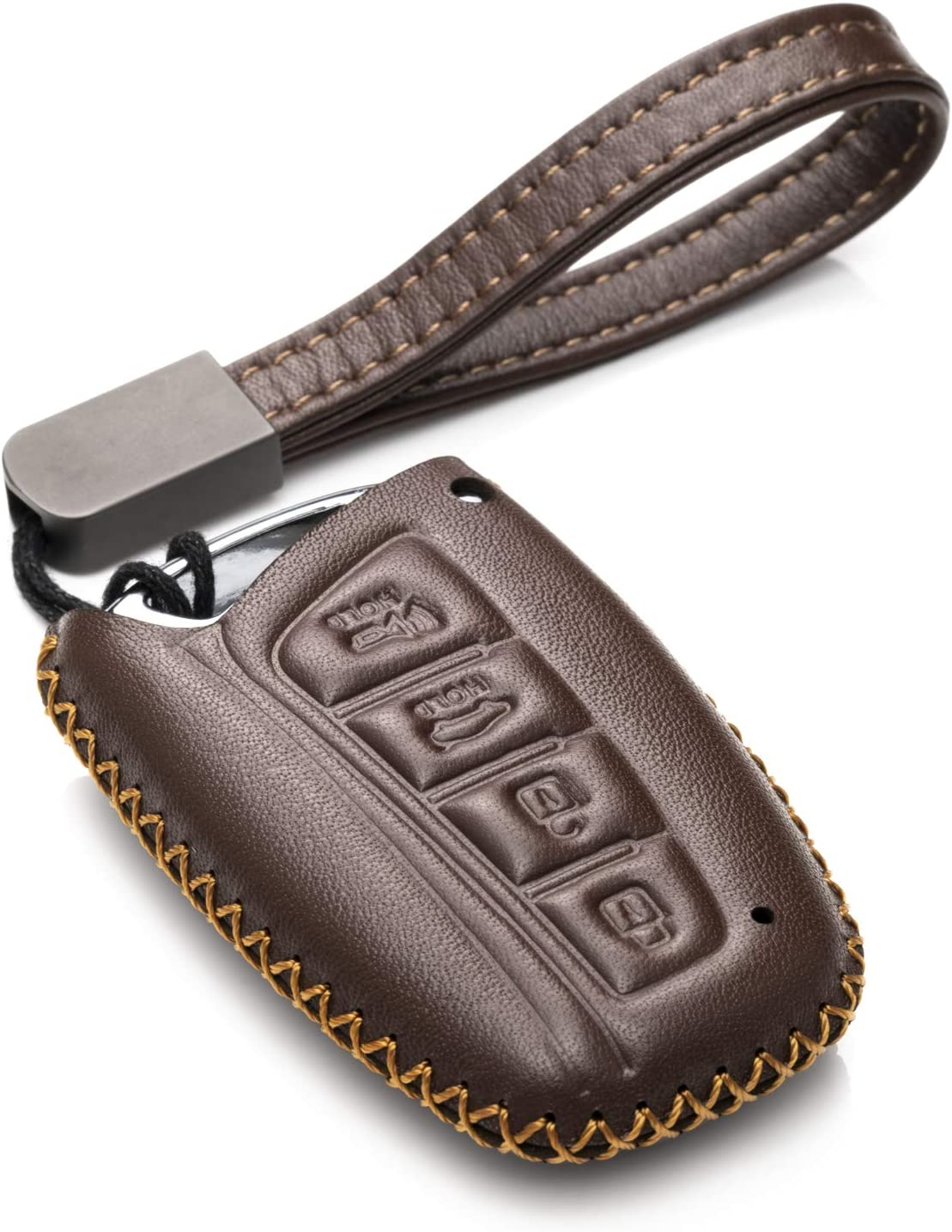 4 Buttons, Brown Vitodeco Genuine Leather Keyless Smart Key Fob Case Cover with Key Chain for 2013-2017 Hyundai Santa FE