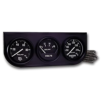 AUTO METER 2397 Autogage Black Console Oil/Volt/Water Gauge: Automotive