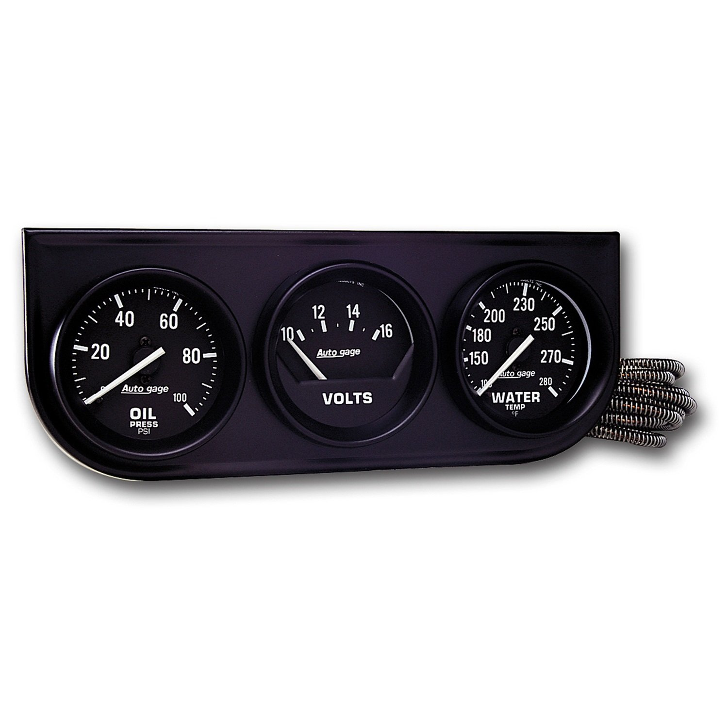 Auto Meter 2397 Black 2-1//16 Mechanical Three-Gauge Console