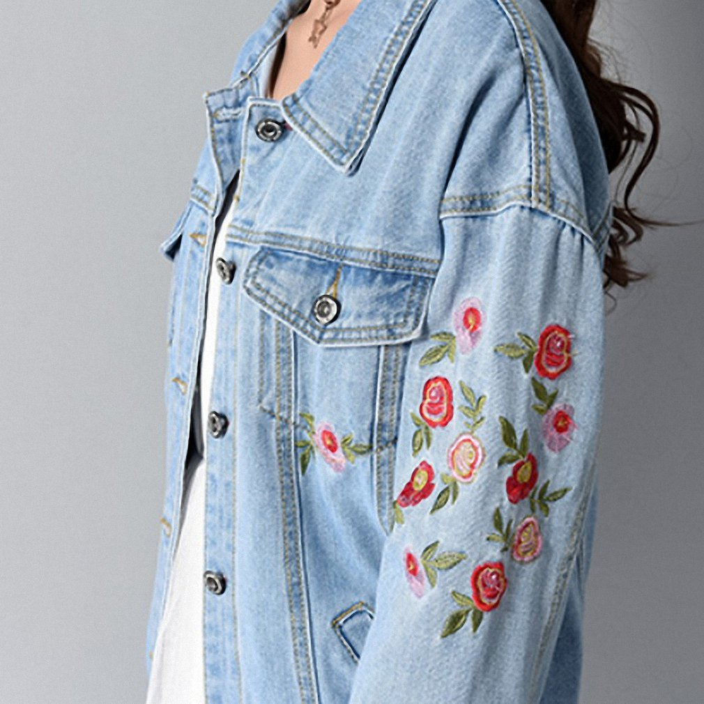 Womens Denim Jacket Embroidery Floral Loose Jeans Coat Long Sleeve at Amazon Womens Coats Shop