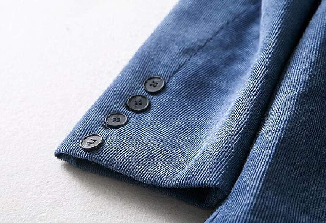 OTW Womens Vintage 1 Button Corduroy Pure Color Formal Work Blazer ...