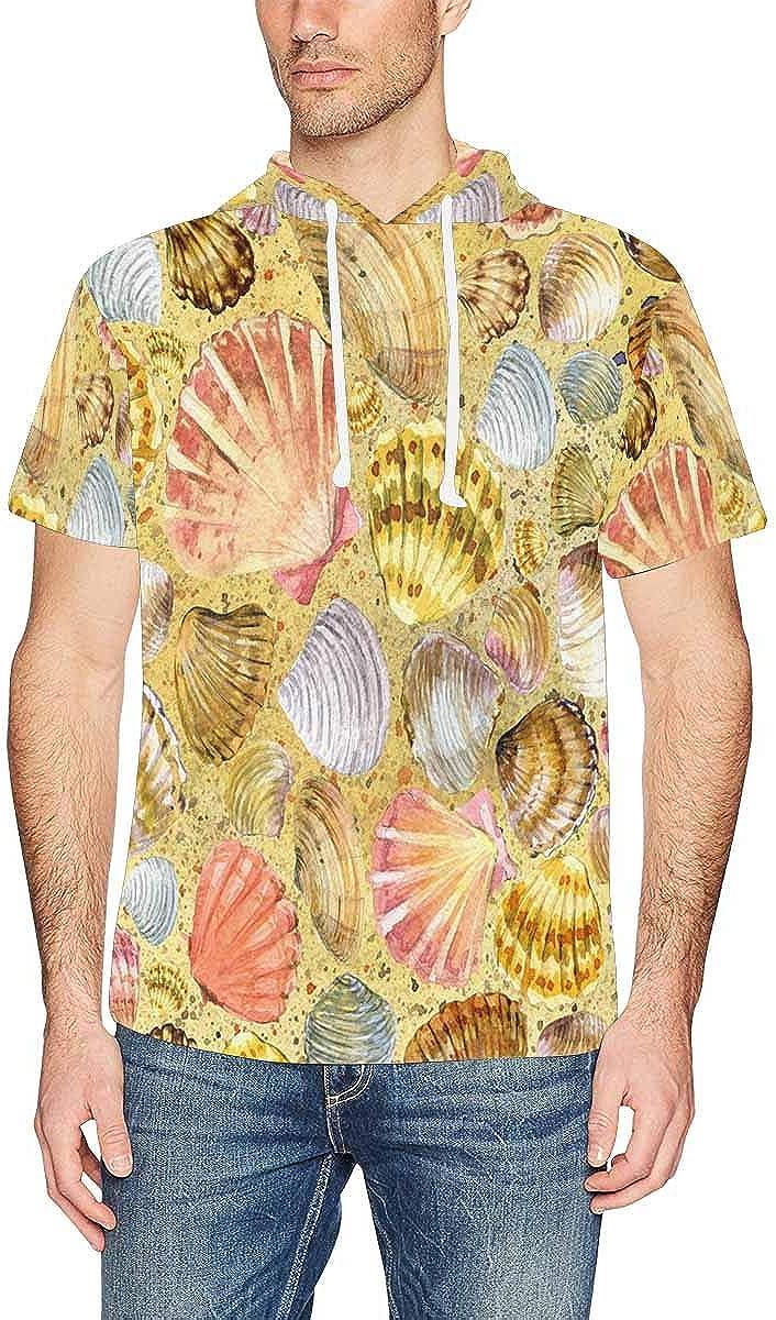 INTERESTPRINT Mens Short Sleeve Hoodies Shirts Watermelon Fruit Drawstring Pullover Tops