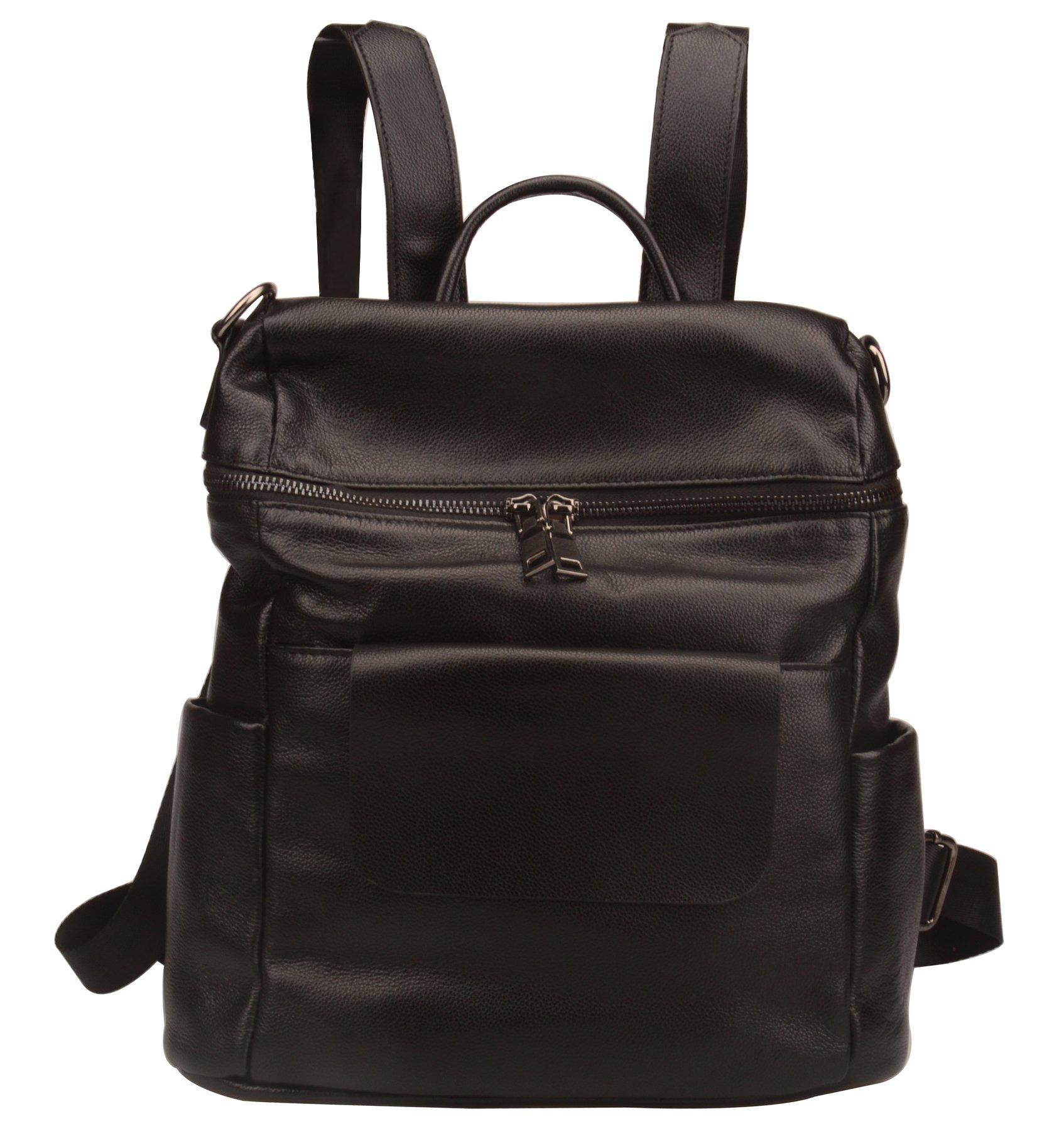 Fiswiss Women's Genuine Leather Fashion Backpack School Backpack Purse Handbags (Black)