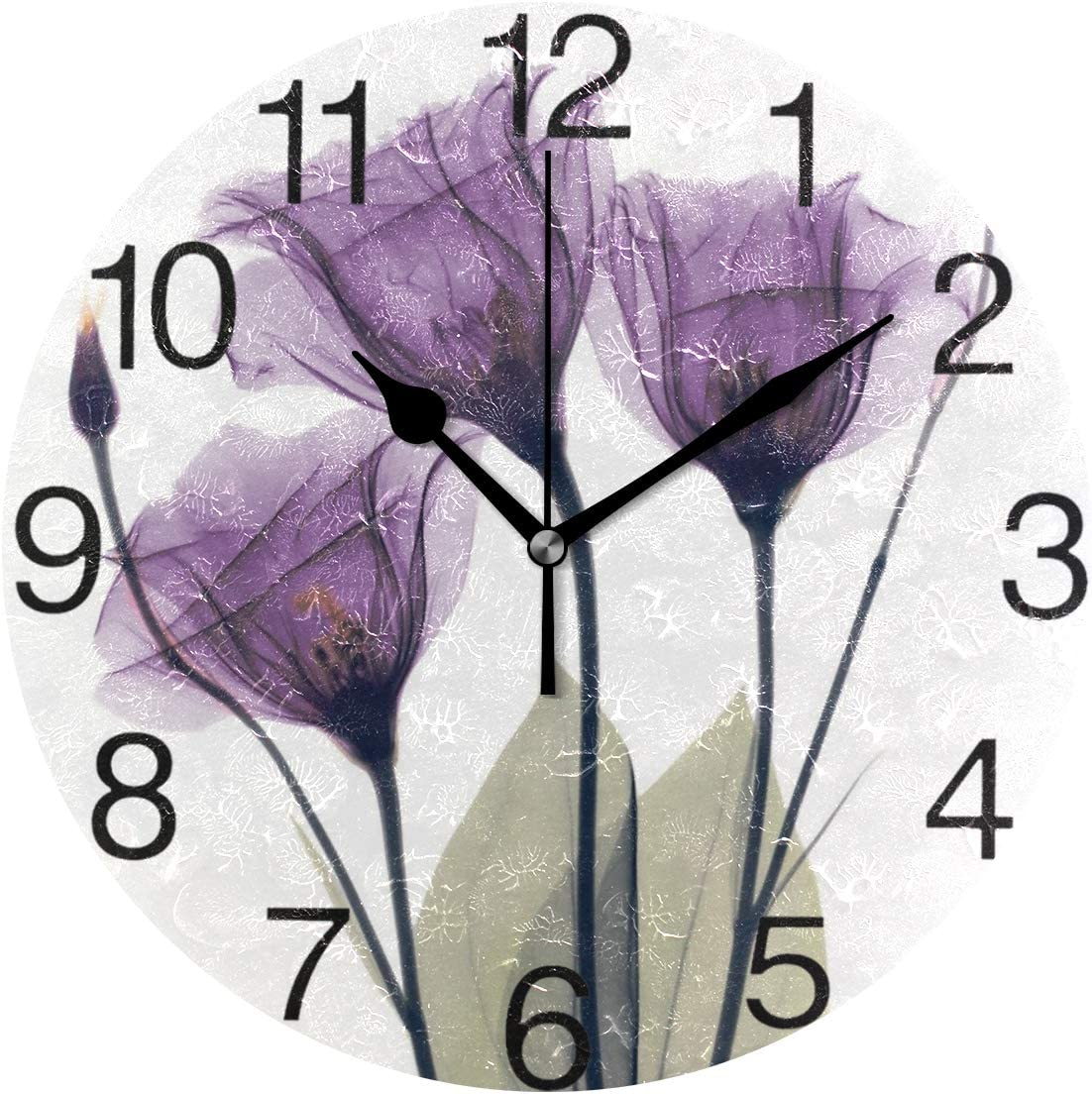 senya Lavender Hope Flowers Round Wall Clock, Silent Non Ticking Oil Painting Decorative for Home Office School Clock Art
