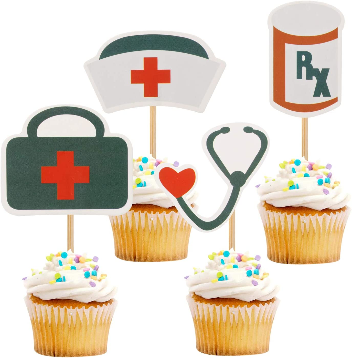 iMagitek 24 Pack Nursing Cupcake Toppers Decorations, Nurse Graduation Cupcake Toppers for Doctor & Nurse Graduation Party, Birthday Party