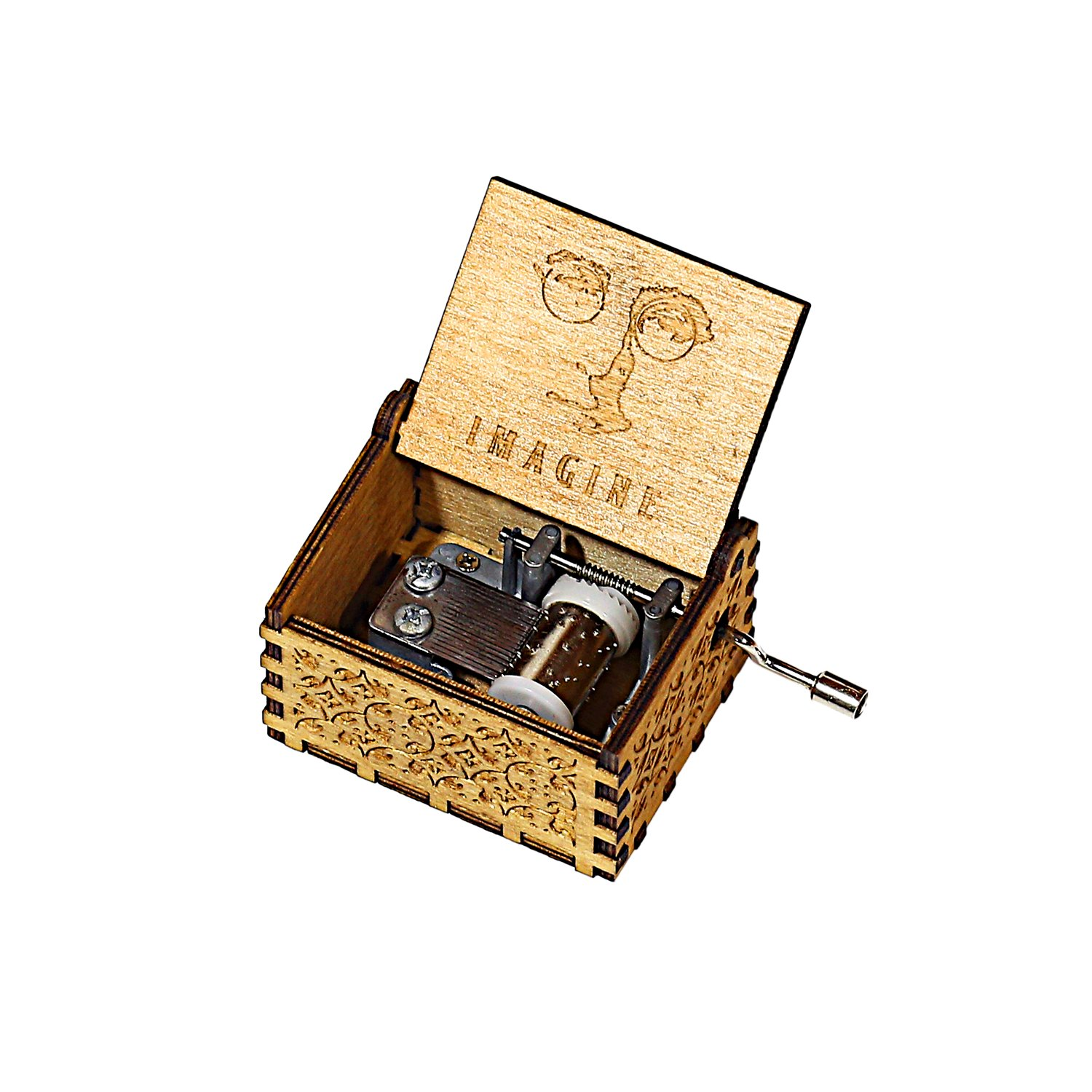 HOSALA Personalizable Music Box Handmade Engraved Wooden (Wood, Castle in The Sky) IS88 -02