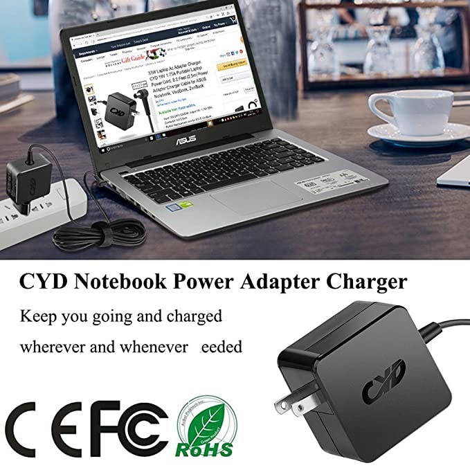 Amazon.com: Cyd 45w Cargador adaptador para asus-laptop adp ...