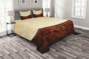 Ambesonne Chocolate Bedspread, Victorian Motifs in Bicolor Baroque Inspired Antique Arrangement Ornate Design, Decorative Quilted 3 Piece Coverlet Set with 2 Pillow Shams, Queen Size, Beige Brown