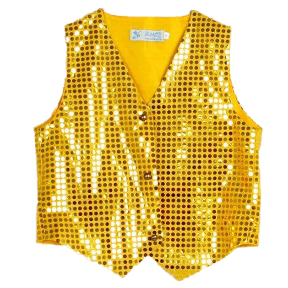 Anlydia Boys Teens Shiny Party Vests Sequins Shirt Waistcoat for Prom,Wedding,Dance Costumes
