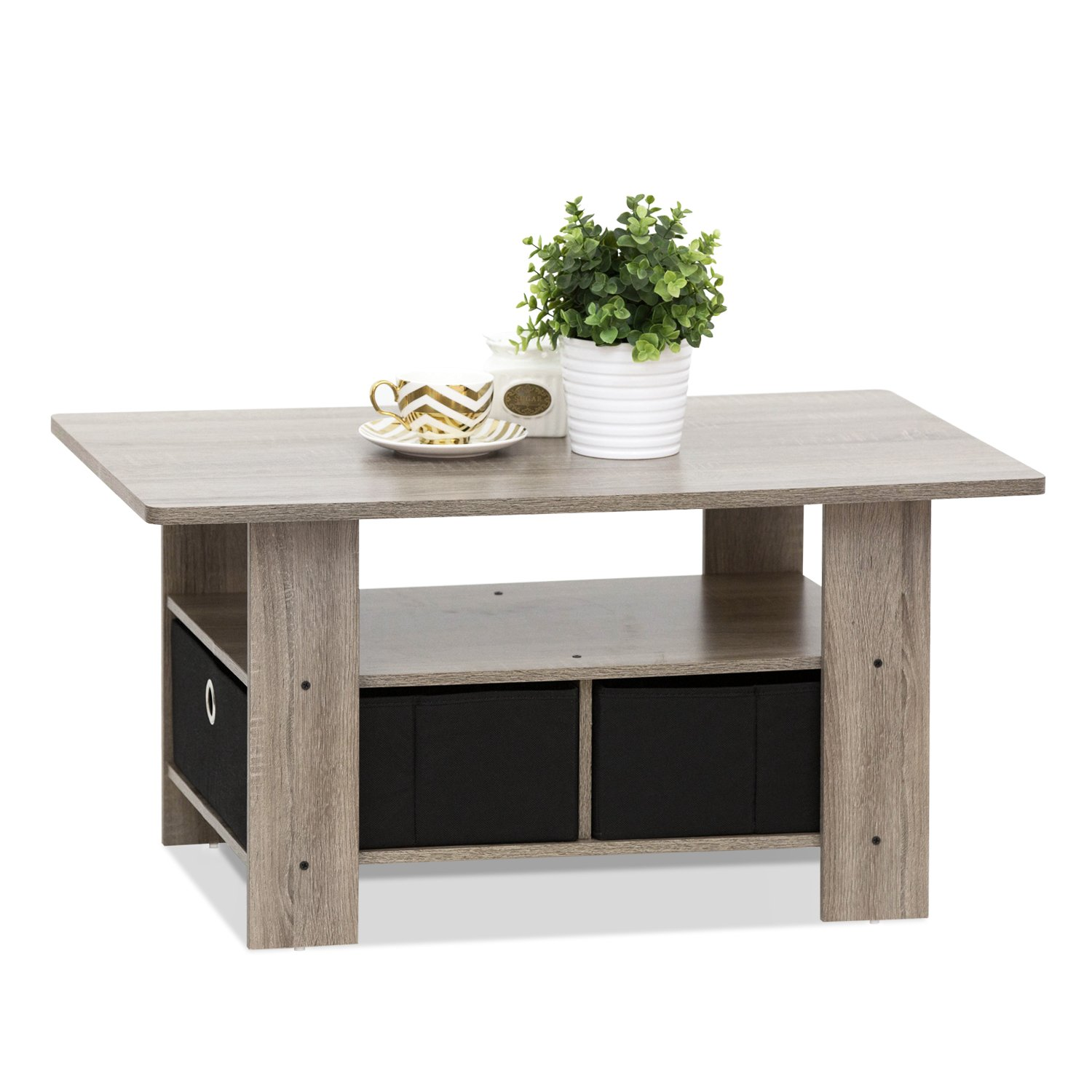 Amazon FURINNO GYW BK Coffee Table with Bin Drawer