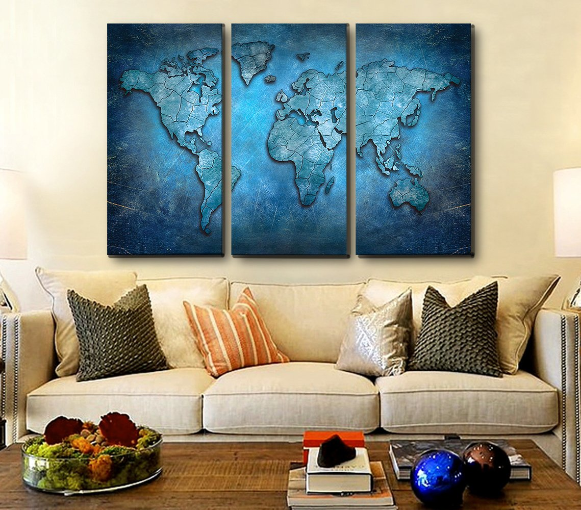 Amazon Com Vcfun Canvas Wall Art Oil Painting Abstract 3d World Map